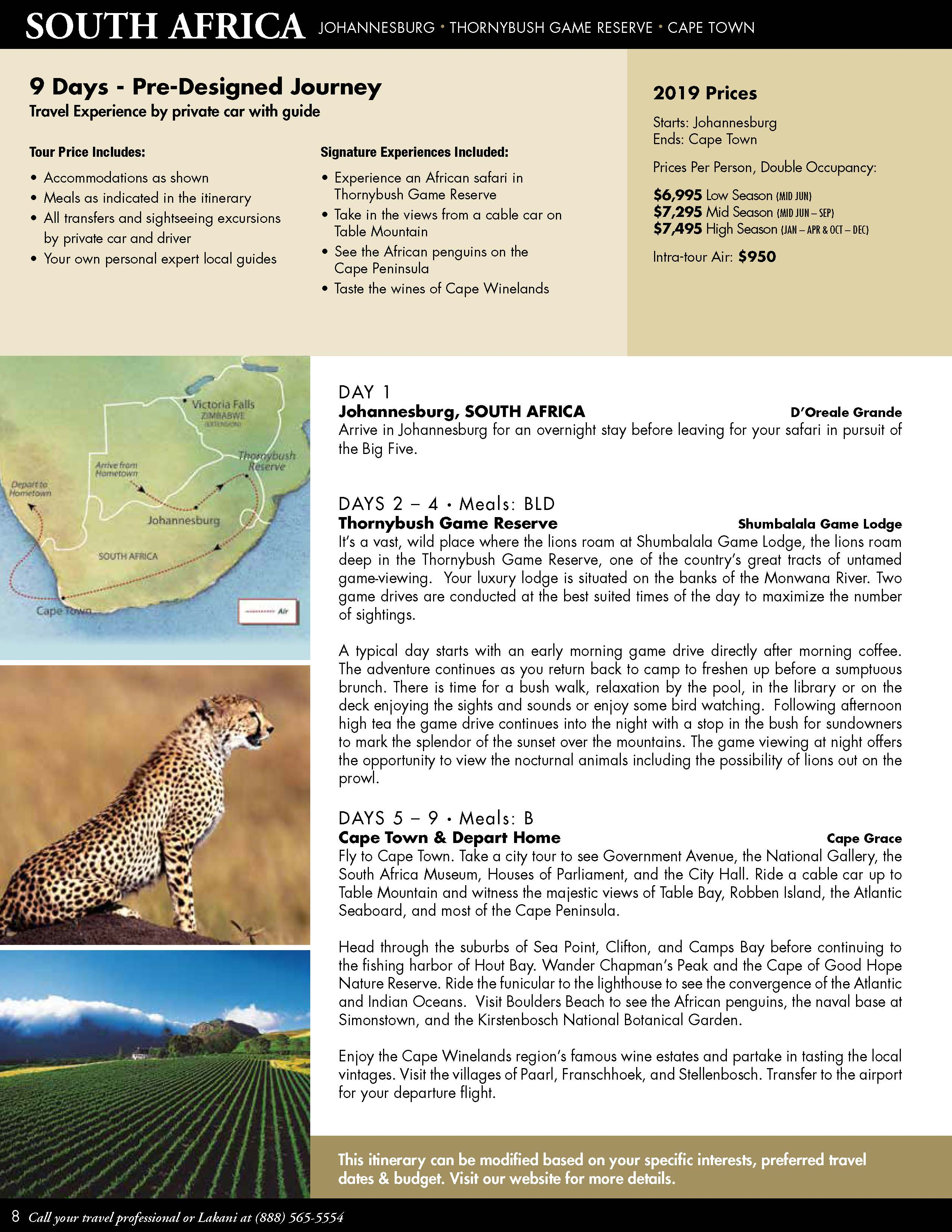 South Africa 2019 – Pre-designed Private Travel – Lakani World Tours